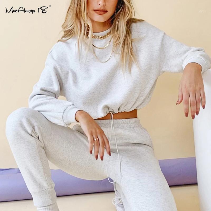 Mnealways18 Sweat-shirt de coton d'hiver et pantalons de survêtement Deux Morceau Ensembles Femmes Casual TrackSuit Drop Oreaux Pull Sports Sports1
