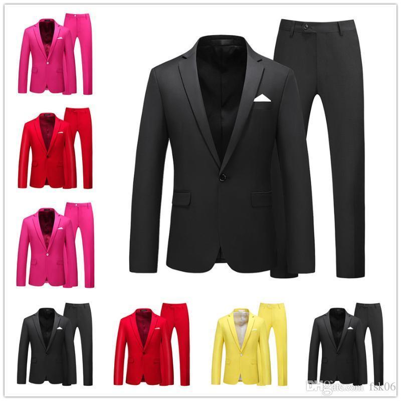 Erkekler Suit Basit Blazer Katı Renk 2 ADET Ceket Pantolon Klasik Iş Rahat Ince Erkek Takım Elbise Renkli Düğün Damat Tuxudo A19