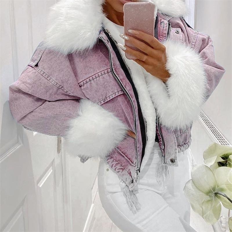 otoño invierno mujeres chaqueta abrigo cálido piel sintética corta jean chaquetas damas moda más tamaño 3xl denim Outwear engrose ropa 201026