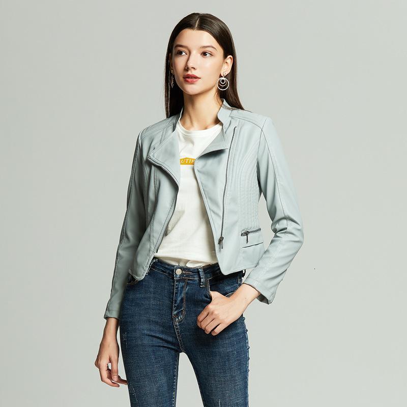 Yüksek kaliteli PU Kısa Ceketler Kadın Tasarımcısı Güz Cilt Mont Lady Rahat Deri Faux Desgaste Dış Avrupa Giyim Syvb