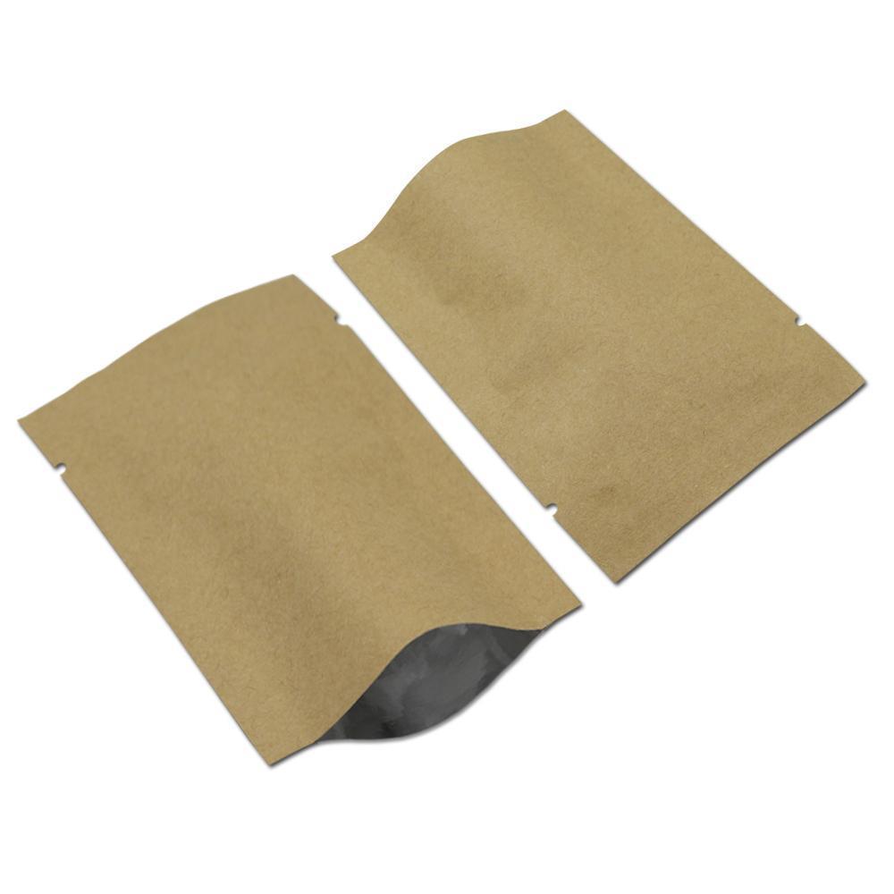 812 cm 200 adetgrup Açık Üst Kahverengi Kraft Kağıt Alüminyum Folyo Paket Çantası Mylar Vakum Mühür Gıda Craft Ambalaj Kılıfı Snack Pack Çanta H SQCEAI