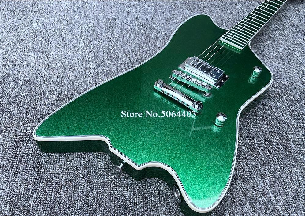 G6199 Billy Bo Jupiter Big Sparkle Metallico Verde Green Thunderbird Chitarra elettrica Dingerboard verde metallico, pickup coreano, jack di input rotondi