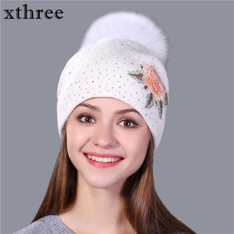 Xthree Feminino moda inverno bordados gorro de malha para mulheres lã pom pele verdadeira raposa Skullie chapéu meninas gorro 201026