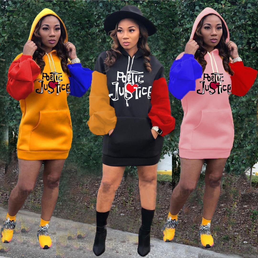 Женская повседневная Contrast платье с капюшоном с длинным рукавом вышивка Puff рукавом свитера платья 2020 осень дамы Новая мода юбка