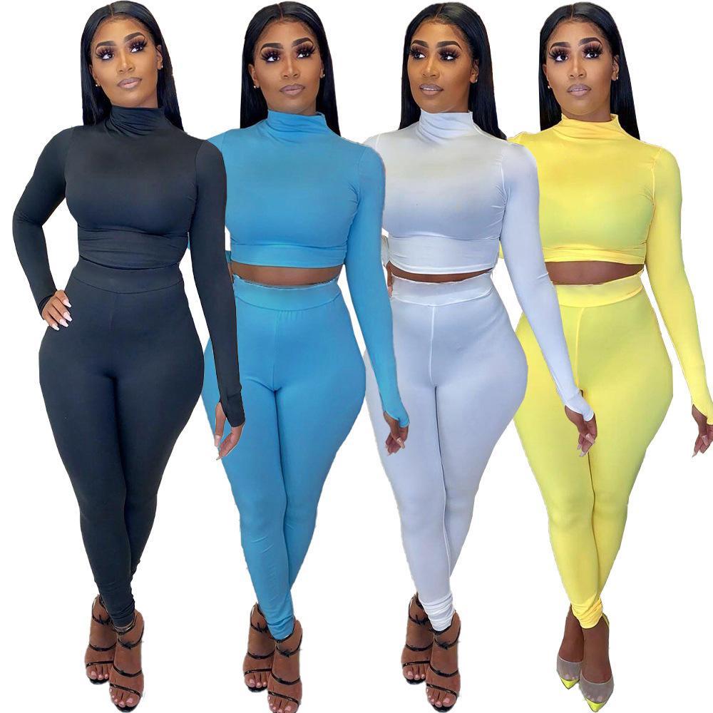 Donna 2 piece set Tuta colore solido di modo collo alto a maniche lunghe T Shirt Top Pieghe pantaloni rifornisce Sport signore più adatto al formato
