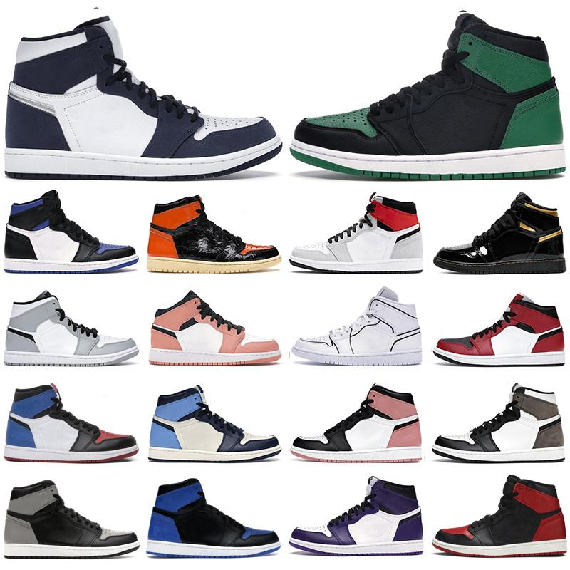 2021 Basketbol Ayakkabıları Jumpman 1 Erkekler Kadınlar 1 S Yüksek OG Midnight Donanma Siyah Metalik Altın Işık Duman Gri Twist Kraliyet Erkek Spor Sneakers