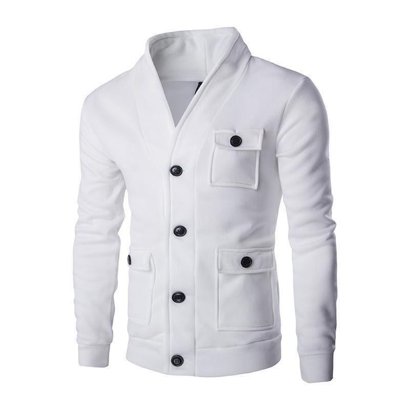 رجل الأزياء طوق سترة سترة بلون جيب كبير ديكور سترة معطف جاكيتات الرجال ربيع الخريف الذكور قمم 2colour