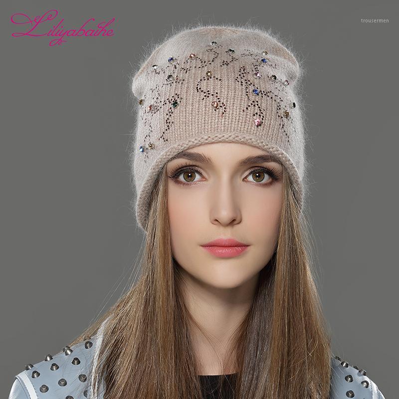 Liliyabaihe donne autunno e inverno cappello angora a maglia a maglia teschi berretti tappo classico color decorazione diamante cappelli per ragazze1