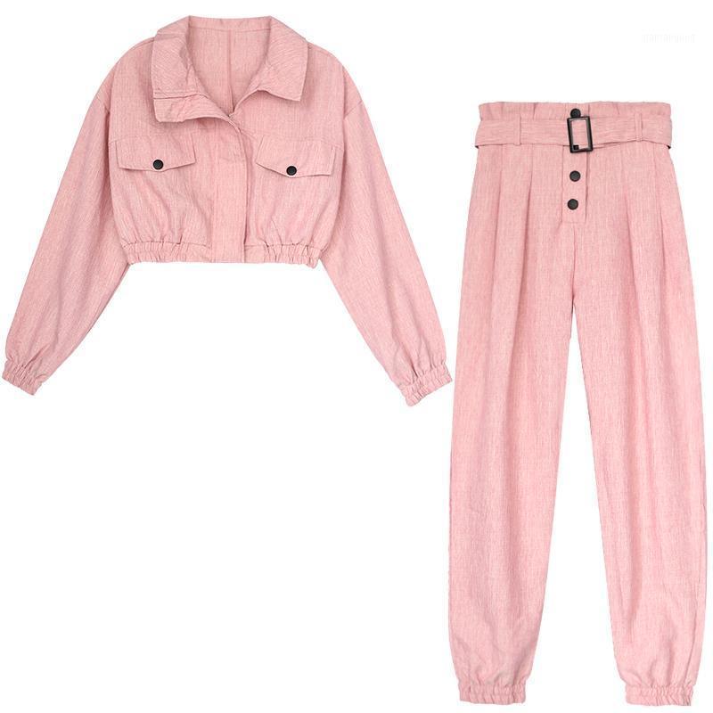 Возможно, у женщин красивый мото толкательный воротник хлопчатобумажного льняного молния с длинным рукавом розовый розовый полная длина гарем брюки набор осень T00591