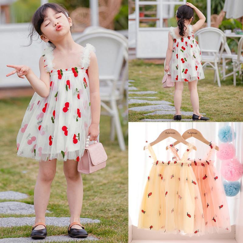 Niñas para niñas vestido de verano sin mangas de la piña de la piña de la piña de la princesa para niña niños de malla de malla volantes vestidos