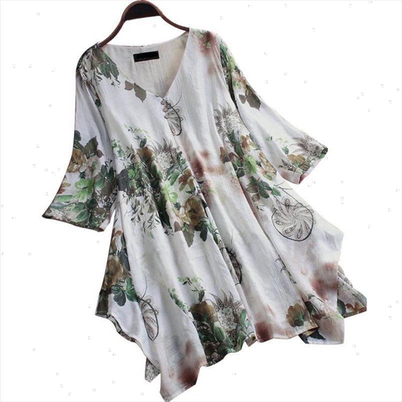 Große Größe Womens Shirt Baumwolle und Leinen Plus Größe 5XL 6XL 7XL 8XL 9XL Sommer V-Ausschnitt Kurze Ärmel lose weiße Oberseite