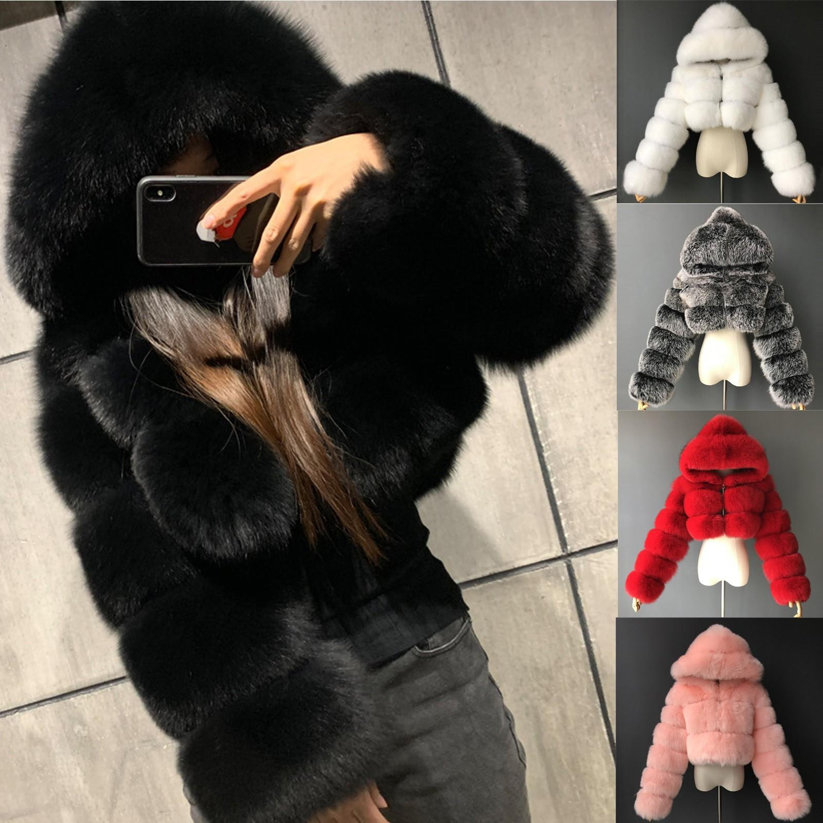 잘린 모피 가짜 모피 코트와 재킷 여성 푹신한 탑 코트 후드 겨울 모피 자켓 코트 manteau femme 201016