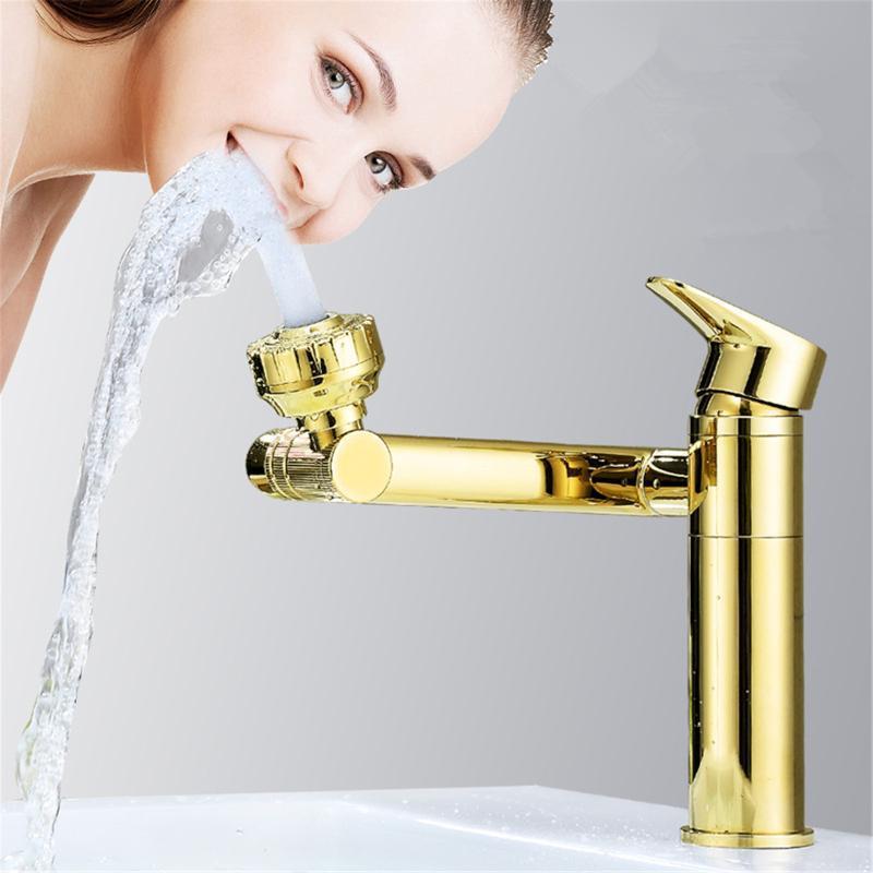Tippen Sie auf Küche Badezimmerzubehör Küchenzubehör kalt und heiß 360 Grad rotieren Sie Wasserhahn Zwei Funktionsarmatur