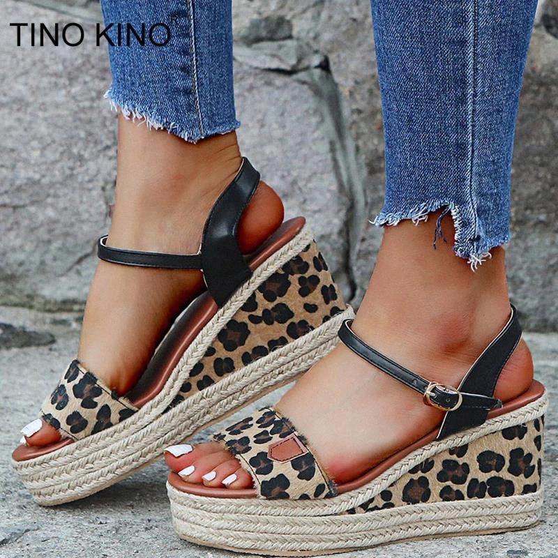 Женский летний ремешок клин сандалии женщина обувь пряжка ремешок змеинка леопардовый печать платформы женские сандалии мода повседневная # SU2F