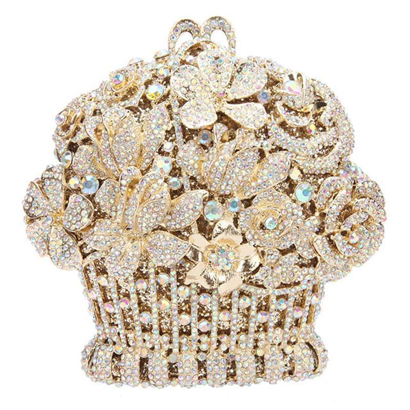 Nuevas Mujeres Multicolor Tarde Femenino Diamante Embrague Bolsas Blancas Embragues Bolsos Crystal Metal Party Fashion Handabgs Bag Cuero VUUDV