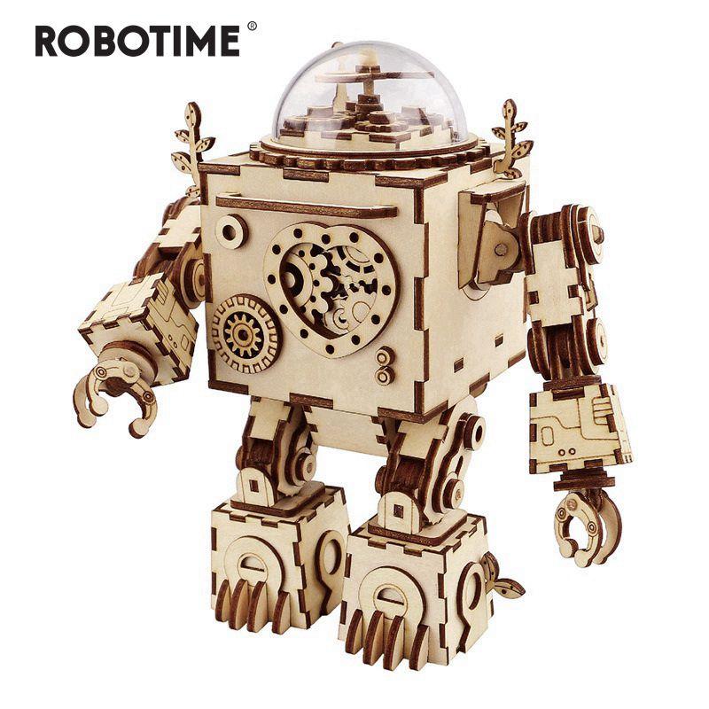 Robotime 5 tipos fã rotatable madeira diy steampunk modelo edifício kits conjunto de brinquedo conjunto para crianças adulto lj200928