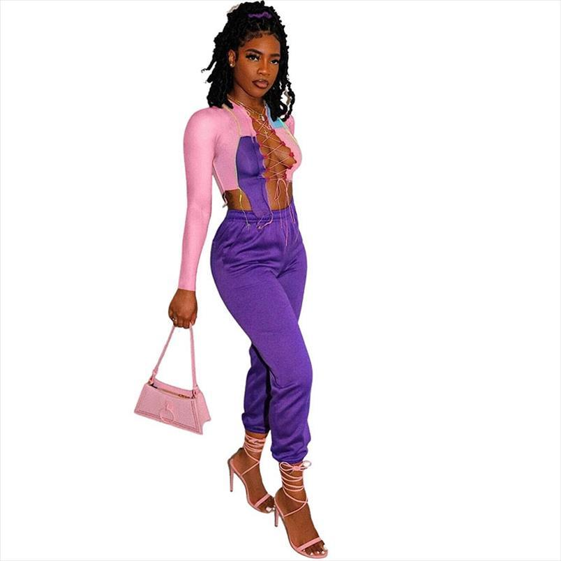 Club Wear Sexy Two Piece Outfits for Women Tracksuits Matching Sets Fall Winter Party Lace Up Crop Tops and Pants Set Womens 2