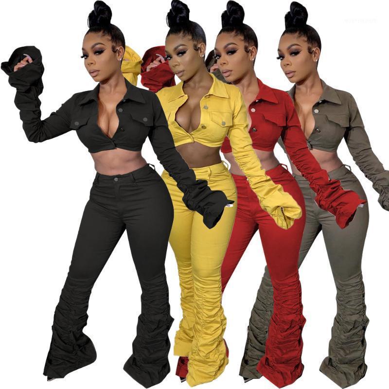 2020 Autunno Donne più recenti Donne due pezzi Set di moda Lady Lady Giacca a tenuta di giurispruccio e pantaloni ad alta vita Pantaloni impilati Outfit1