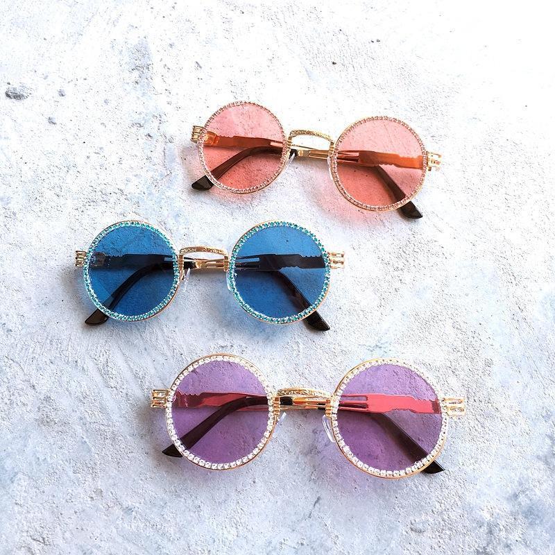 Retro Gafas de sol redondas de las mujeres de la vendimia de Steampunk Lentes de sol lentes de las gafas de sol de los hombres Claro Rhinestone de las señoras de conducción