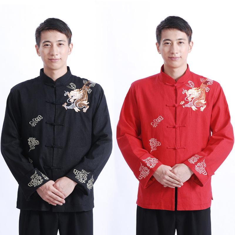 Tang costume chinois top traditionnel chinois pour hommes broderie adulte kungfu manteau printemps automutile tenue tenue pleine chemise Hanfu homme rouge