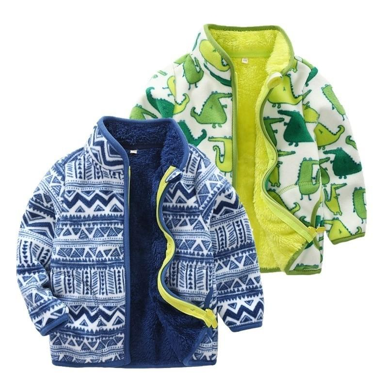 Maglione invernale Bambini Boys Pile Giacca Giacca a maniche lunghe con cerniera Plus Velvet Tenere caldo Cappotto per bambini Cardigan Pattern Nuovo arrivo 201128