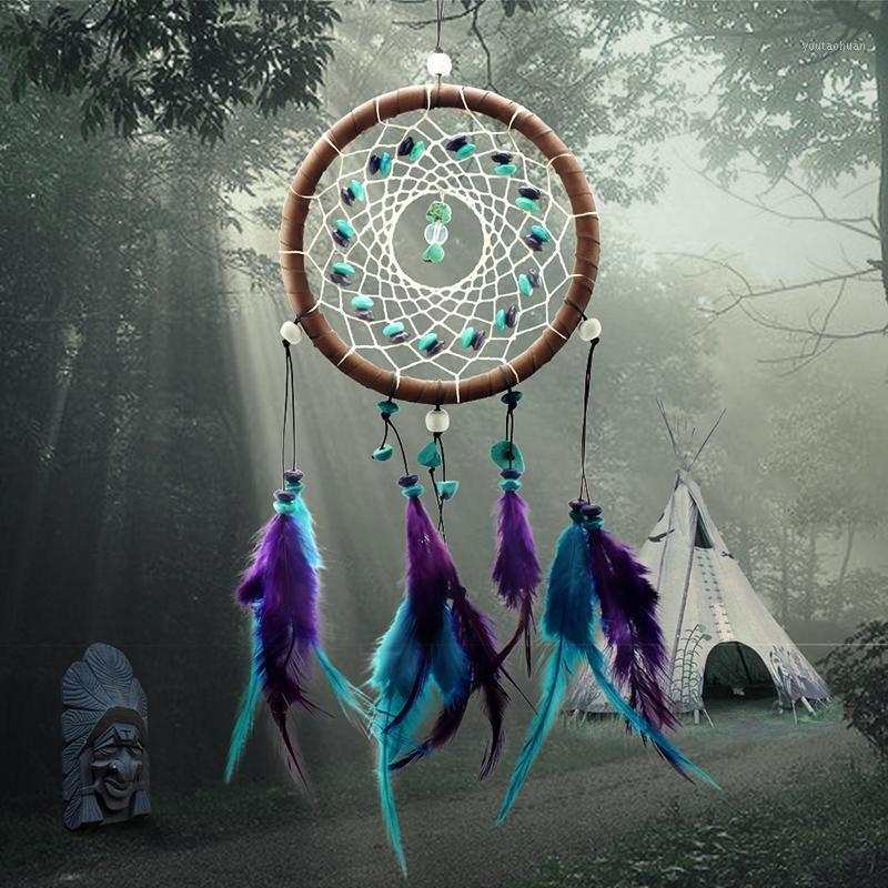 Großhandel - Antike Nachahmung Verzauberte Wald Dreamcatcher Geschenk Handgemachte Traumfänger Netz mit Federn Wand Hängen Dekoration Ornament1