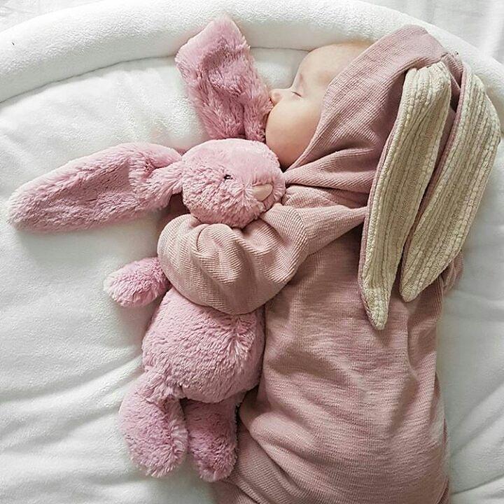 Invierno mamelucos conejo caliente del oído del desgaste del bebé del mameluco del mono paño grueso y suave de la nieve del Snowsuit infantil lindo Ropa Niños recién nacidos Ropa Grisl