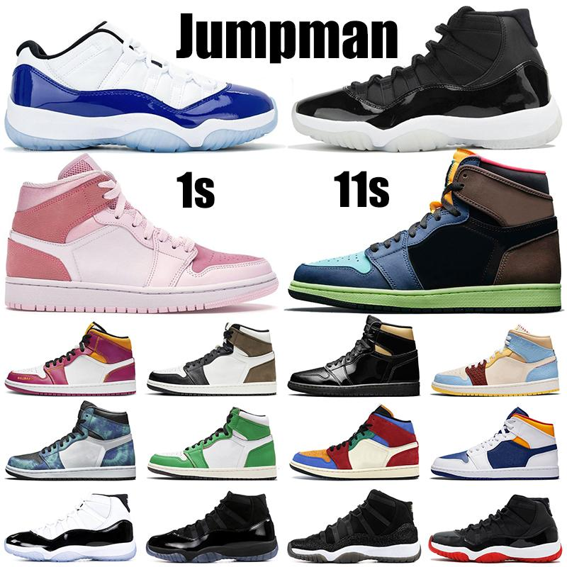 2020 Jumpman 1s 11s men basketball shoes 11 25th Anniversary Concord bred 1 Black Gold Tie Dye TWIST womens mens trainers sports sneakers