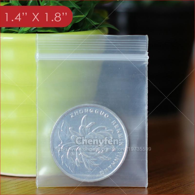 Le 3.5x4.5cm plastique refermable Poly sacs de fermeture éclair Zippées clair Bijoux Baggies 1.4 « de x1,8 » 8mil épais