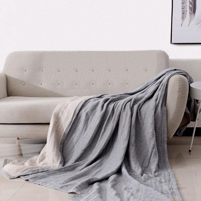 Estilo japonês simples 4 camada espessa camada de algodão Air Conditioner toalha macia Primavera E Verão Dois cor da linha Blanket Amarelo E Gr 2Xja #