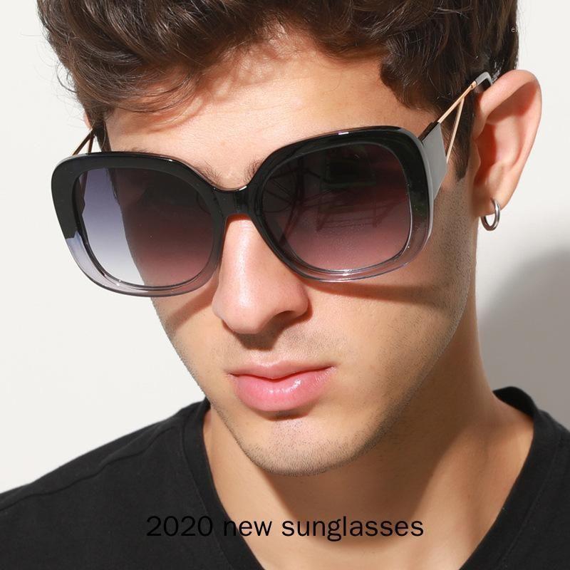 2020 novos óculos de sol quadrados grandes para mulheres vintage homem escudo óculos de sol feminino liga preto tons nx1