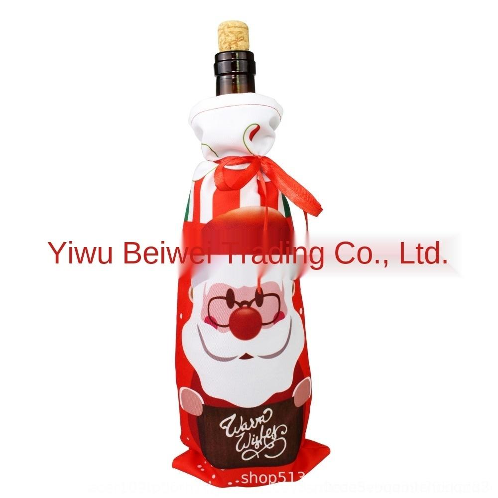 oLf7C Elk stampati vino rosso sacchetto copertura della bottiglia bottiglia di Santa vino Accessori Digital decorazioni digitali di Natale pupazzo di neve Natale 0QWST