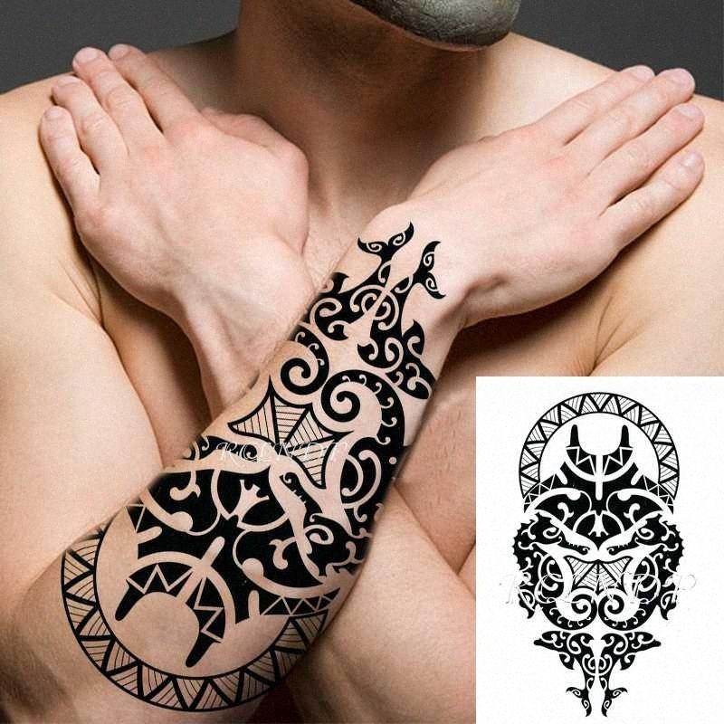 Wasserdicht temporäre Tätowierung Sticker Fische Seahorse Totem Geometrische Muster gefälschter Tatto Blitz Tatoo Arm-Bein-Art für Frauen-Mann ELe8 #