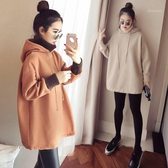 2020 Felpa da donna Autunno e inverno lunga versione coreana della primavera e autunno vestiti di maternità felpa con cappuccio