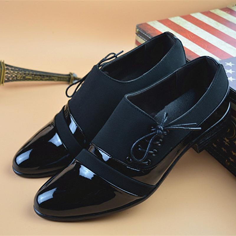 Dress Shoes Men's Business Leather Casual Comfortable Lace Up Wedding Shoe Male Patent Suit Zapatos De Hombre#1