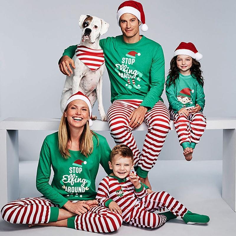Kış Noel Pijama Aile Eşleştirme Giysi Set Yeşil Yetişkin Çocuklar Bebek Kız Erkek Anne Ve Me Giyim Aile Moda Kıyafetler LJ201109