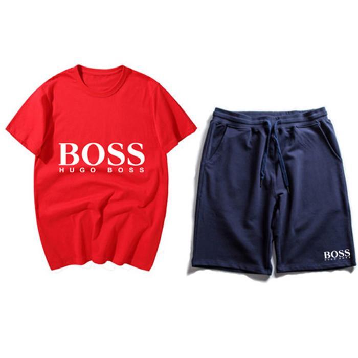 2020 Mens Designer Fashion Tracksuit Lettere Ricamo Luxury Summer Sportswear Maniche corte pullover Pantaloni da jogger Abiti Tute Sportsuit 1235