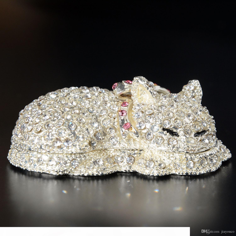 Cristal Bejeweled Cat Tinket Jewerly Pendiente Caja Pewter Animal Figurines Metal Crafts Cumpleaños Regalos coleccionables de Navidad