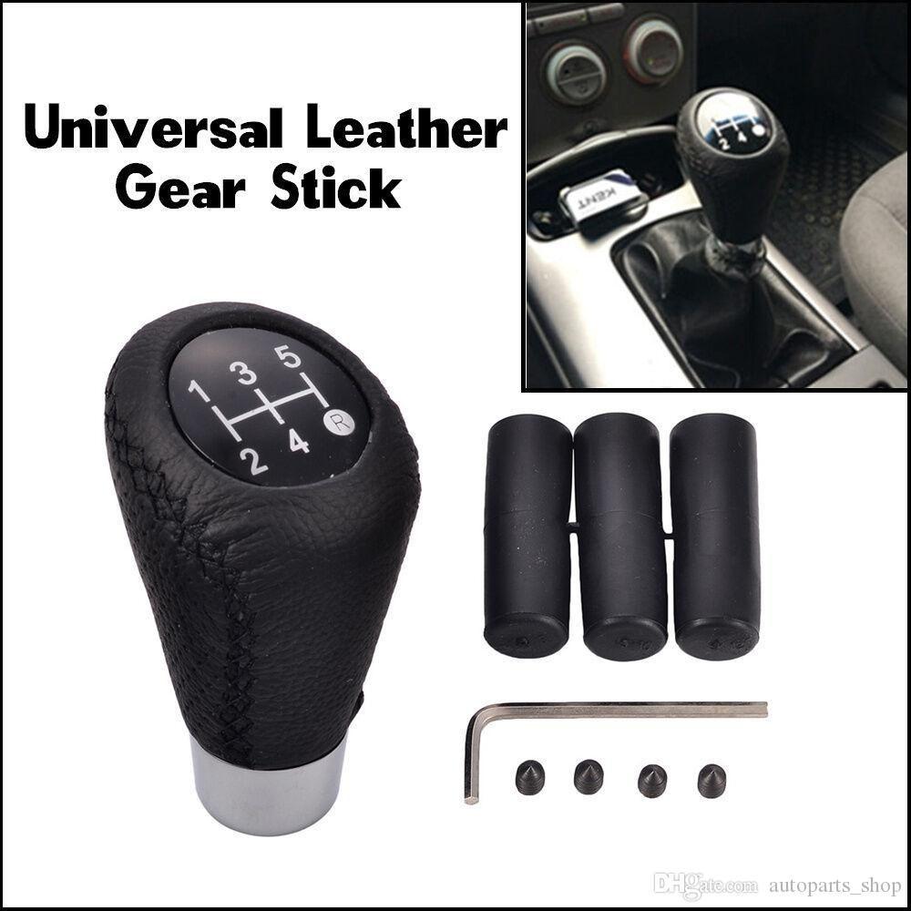 Universal 5 Speed Leather Black Stitch Manual Car Gear Stick Shift Knob Shifter