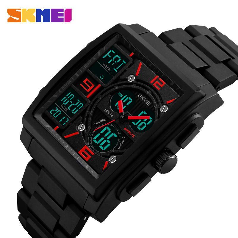 SKMEI Creative Mens Digital Watch 3 Times Square Luminous Waterproof New Concept Unique Watch Military relojes para hombre 1274