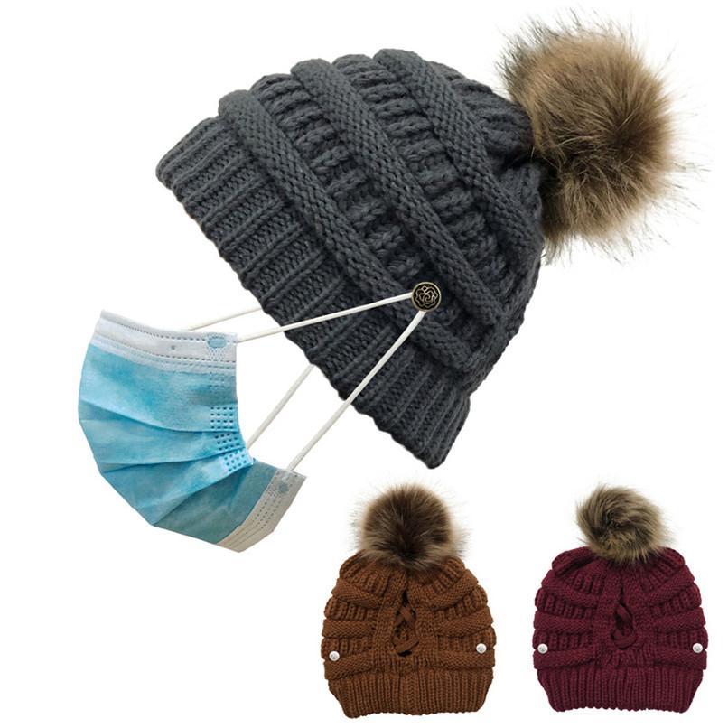 Moda adultos caliente del invierno del Soft para las mujeres de punto con Pom Pom Gorros ganchillo casquillo de los sombreros de esquí para mujer Gorros Gorros niñas de 8 colores F102005