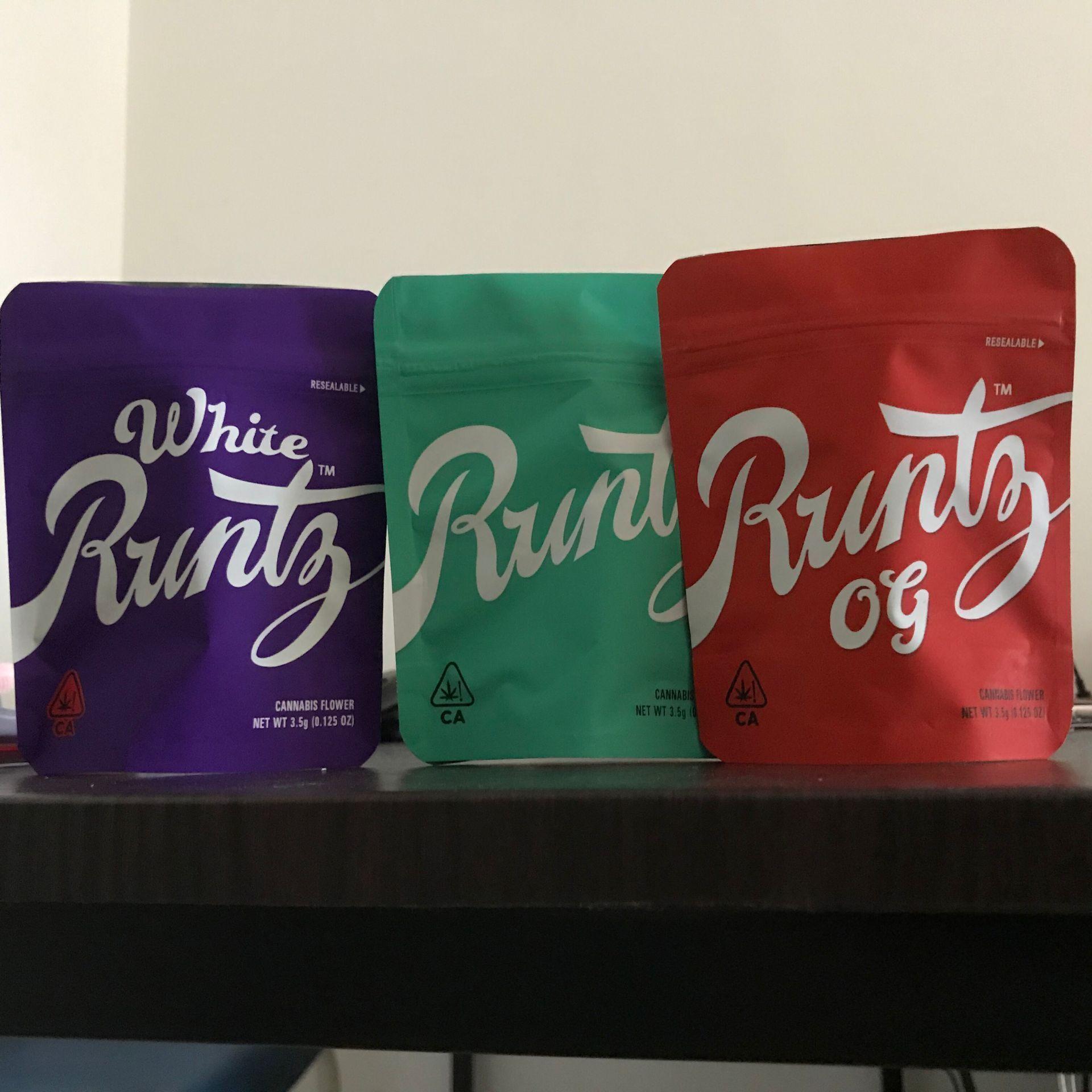 Hot Selling Runtz Bag California SF 3.5g Mylar Zipper Runtz Cookies OG Flower Bag Child Proof