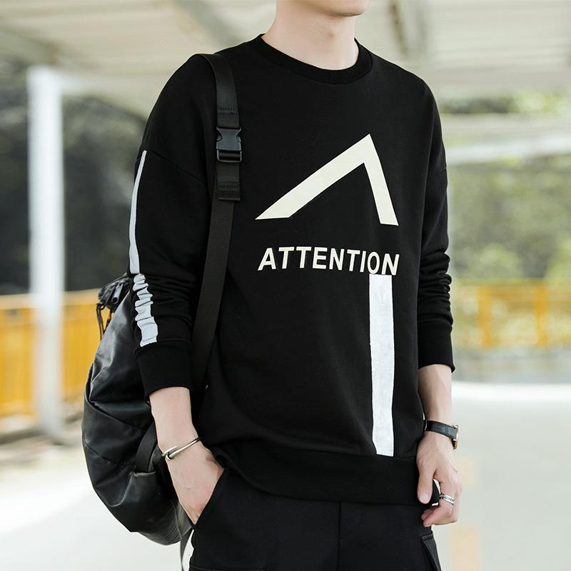 Sweater autumn 2020 new men's long sleeve T-shirt fashion label loose crew neck bottoming trend casual top
