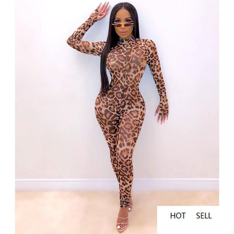 Sexy женщин леопард Комбинезоны Модельер See Through Одежда Осень Женские Симпатичные печати Одежда