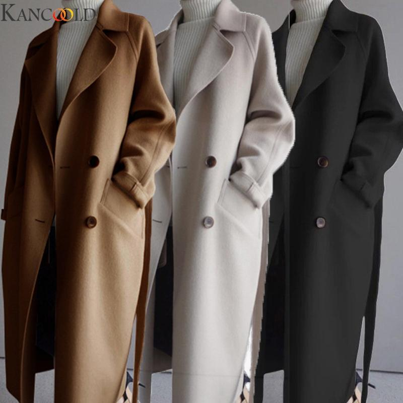 KANCOOLD Inverno casacos cor sólida Oversize lapela Cashmere mistura de lã Belt trespassado casaco comprido Jacket Outwear