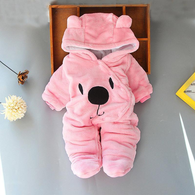 Muchacha de dibujos animados Bear Boy Ropa engrosada mono lindo bebé recién nacido Ropa de invierno 201105