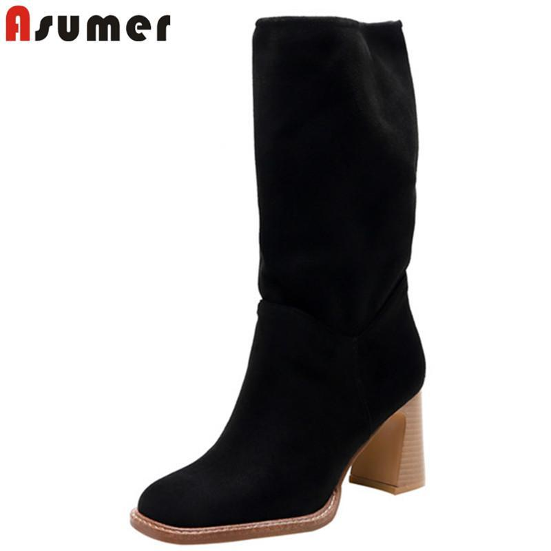 ASUMER 2020 Estilo Europeo a mediados de la pantorrilla botas de las mujeres acuden botas de invierno de tacones altos zapatos de las señoras del otoño del dedo del pie cuadrado de punk femenino