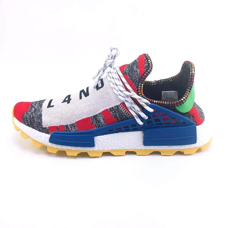 nouvelle race humaine sentier Hu x williams hommes pharrell chaussures de course solaire pack Afro Holi hommes de toile vierge formateurs femmes sport espadrille