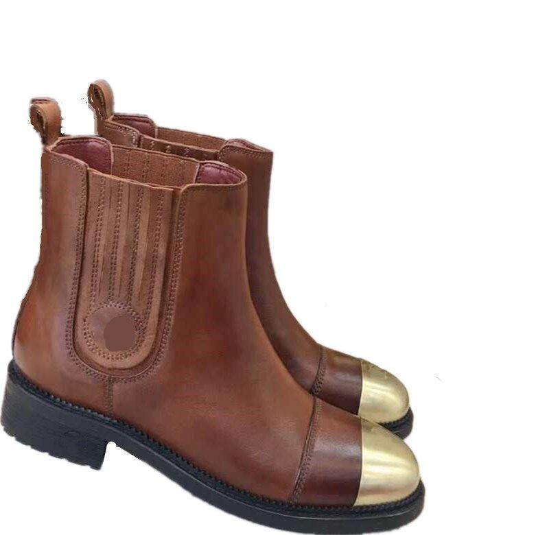Las botas de nuevo genuino de las mujeres botas de cuero del tobillo de las mujeres' estilo de la universidad de Martin botas chica fuelle elástico de metal Tamaño de la cabeza impermeable 35-41