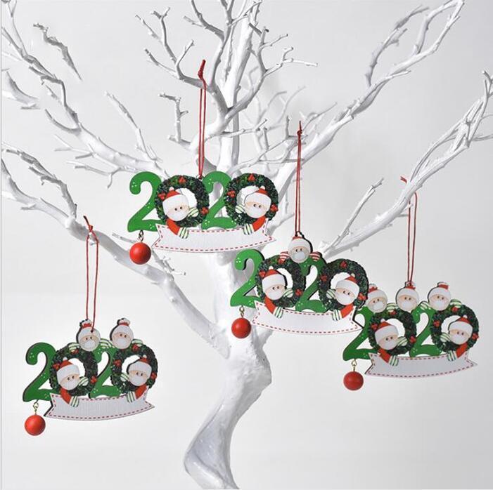 Quarentena personalizado enfeites de família sobrevivente de 2 3 4 5 máscaras Sanitized Mão Customiz Christm decoração criativa Brinquedos WY925w